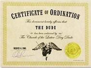 Dudeism Ordination Certificate Generator