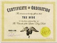 Dudeism Ordination Certificate Generator