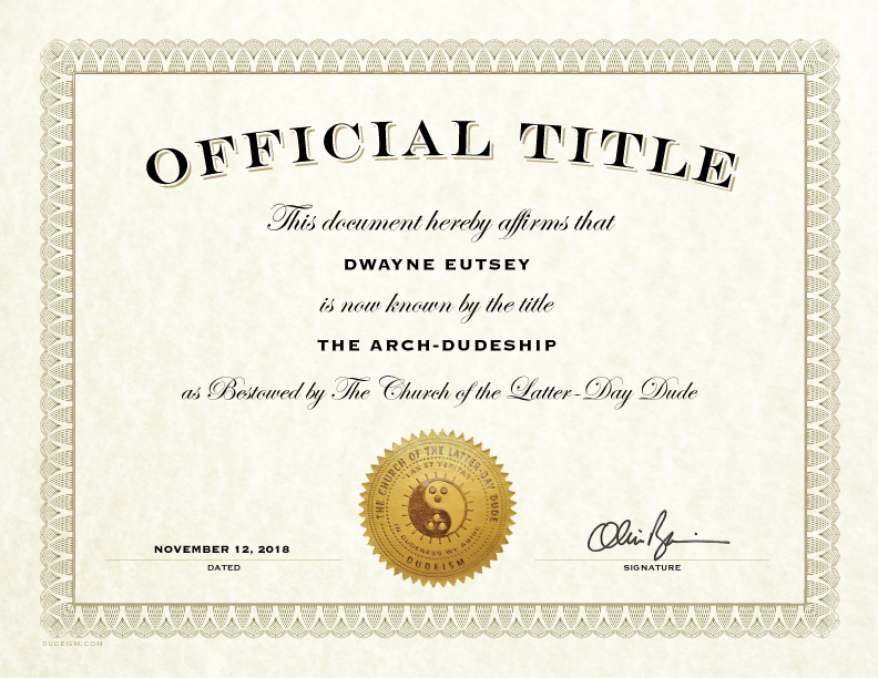 Other Certificates Dudeism