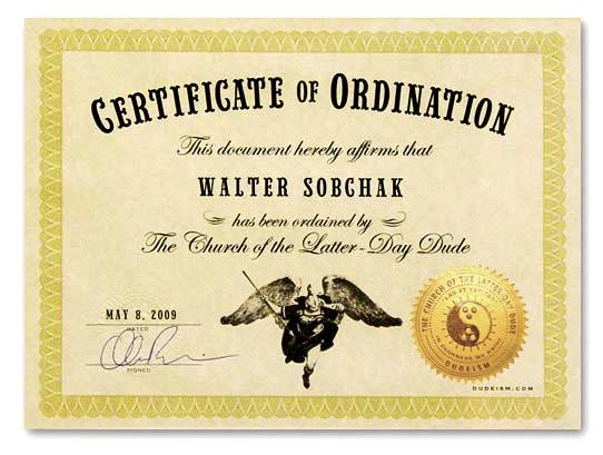 Ordination Certificate